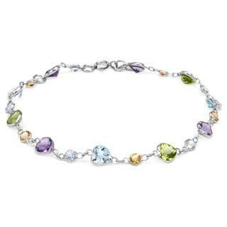 14k White Gold Multi-gemstone Bracelet