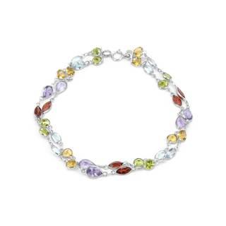 14k White Gold Multi-gemstone Link Bracelet
