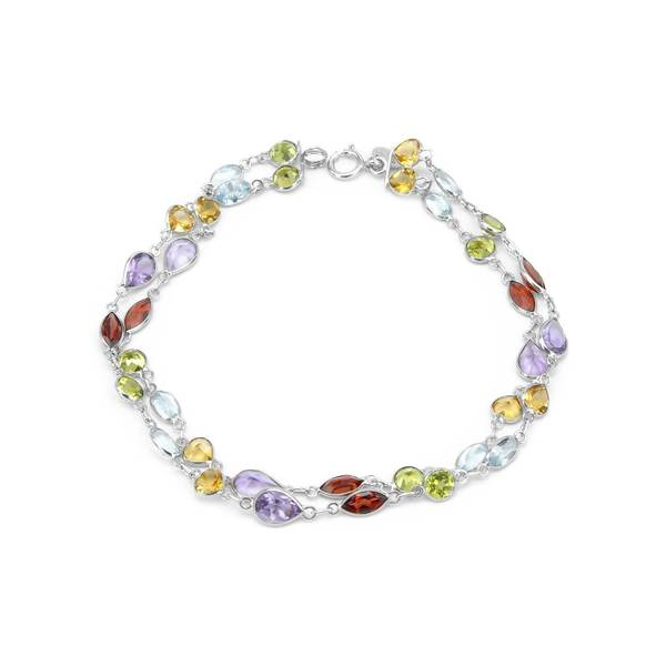 14k White Gold Multi-gemstone Link Bracelet