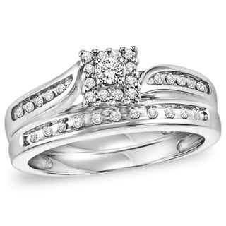 Cambridge 1/4ct TDW Sterling Silver Round Diamond 2-piece Ring Set (I-J, I2-I3)