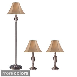 Z-Lite 3-piece Nickel Lamp Set with 2 Table Lamps and 1 Floor Lamp
