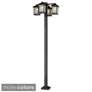 Z-Lite Seedy Glass 4-head Outdoor Post Lamp