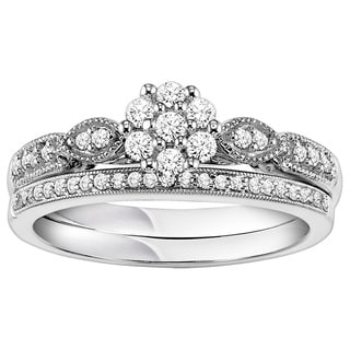 Cambridge Sterling Silver 1/3ct TDW Vintage Inspired Diamond Bridal Set