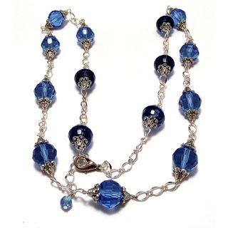 30-inch Light Sapphire Blue Crystal Wedding Jewelry Set