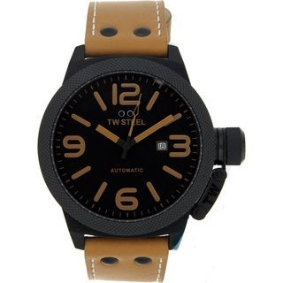 TW Steel Men's TWA202 Camel Leather Black Dial Automatic Watch