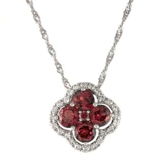 Beverly Hills Charm 14k White Gold Rhodolite Garnet and 1/5ct TDW Clover Necklace (H-I, SI2-I1)