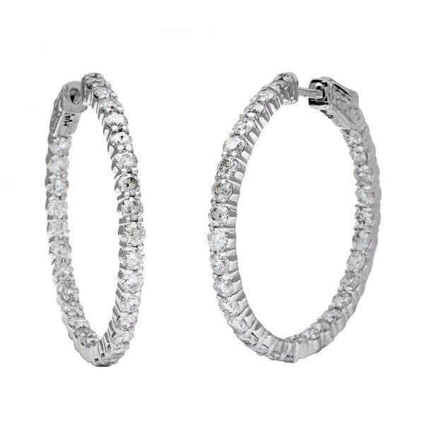 14k White Gold 4ct TDW Diamond Hoop Earrings (H-I, I1-I2)