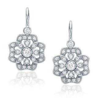 14k White Gold 2/5ct Floral Diamond Dangle Earrings (G-H, SI1-SI2)