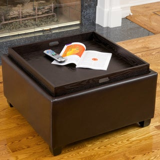 Nathan Chocolate Leather Tray Top Ottoman