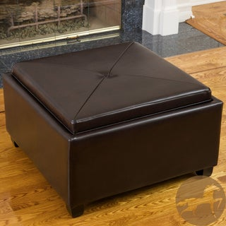 Christopher Knight Home Nathan Chocolate Leather Tray Top Ottoman