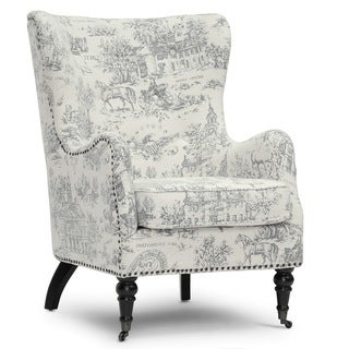 Baxton Studio 'Livingston' Colonial Print Linen Accent Chairs (Set of 2)