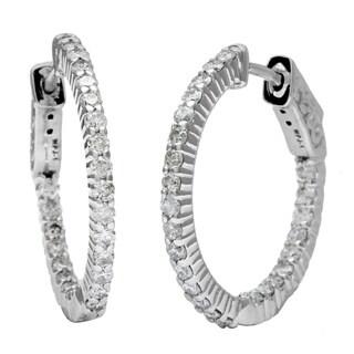 14k White Gold 1ct TDW Diamond Inside Out Hoop Earrings (H-I, I1-I2)