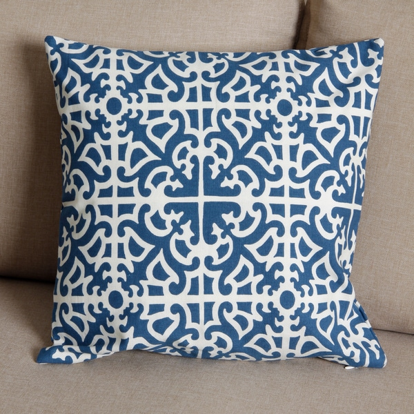 18 x 18-inch Blue and White Tile Print Pillow Cover