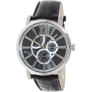 Kenneth Cole Men's KC1980 Black Leather Quartz Watch with Grey Dial