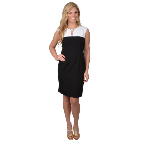 Calvin Klein Women's Black/ White Sleeveless Colorblocked Dress