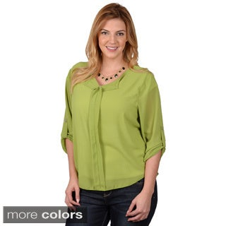 Journee Collection Junior's Contemprorary Plus Hi-lo Chiffon Top