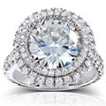 Annello 14k White Gold Round-cut Moissanite and 1 1/10ct TDW Double Halo Diamond Ring (G-H, I1-I2)