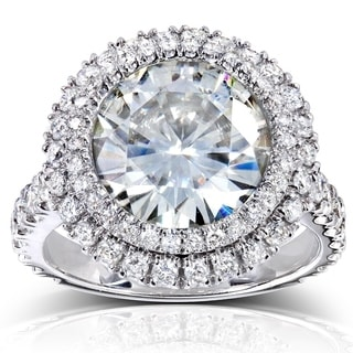 Annello 14k White Gold Round-cut Moissanite and 1 1/10ct TDW Double Halo Diamond Ring (G-H, I1-I2) with Bonus Item