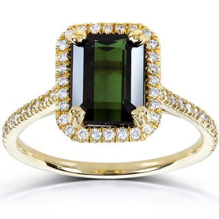 Annello 10k Yellow Gold Emerald-cut Green Tourmaline and 1/4ct TDW Diamond Halo Ring (H-I, I1-I2)