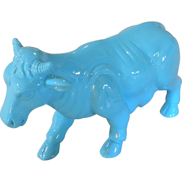 Friendly Turquoise Cow Statue