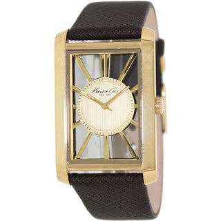 Kenneth Cole Men's Brown Leather Quartz Watch with Gold Dial