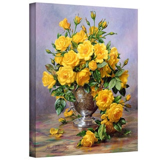Art Wall Albert Williams 'Roses in a Silver Vase' Gallery-wrapped Canvas