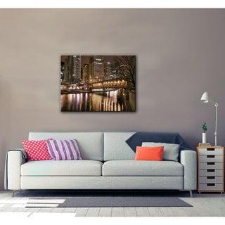 Art Wall Dan Wilson 'Chicago- Michigan Avenue Bridge ' Gallery-Wrapped Canvas