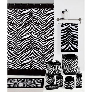 Zebra Print Shower Curtain and Hook Set