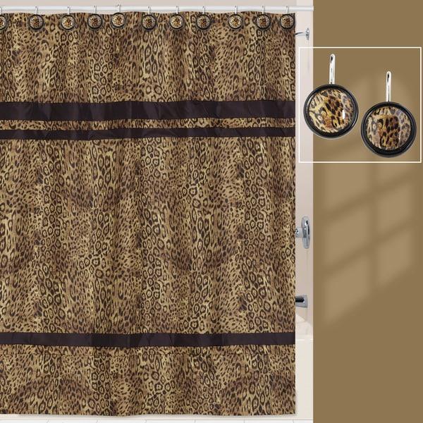 Zsa Zsa Leopard Print Shower Curtain and Hook Set