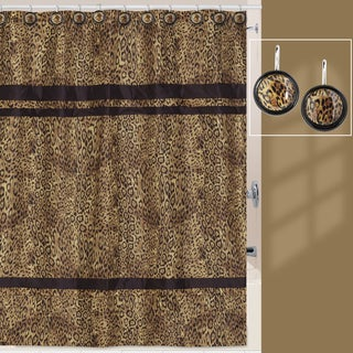 Zsa Zsa Leopard Print Shower Curtain and Hook Set