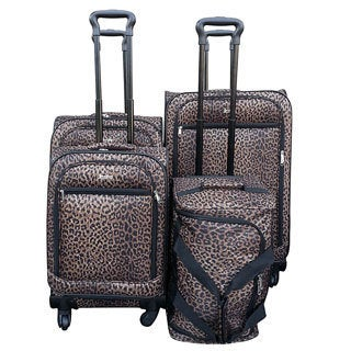 Jourdan Trendy Leopard 4-piece Spinner Luggage Set
