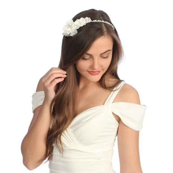 Amour Bridal Satin and Lace Floral Headband