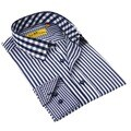 Brio Navy Stitched Collar Men's Shirt