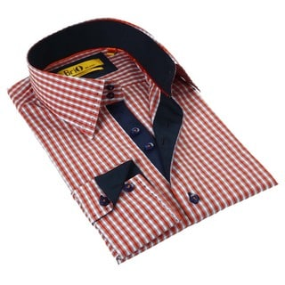 Brio Red Stitched Collar Men's Shirt