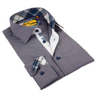 Brio Men's Striped Stitched Collar Shirt