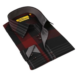 Brio Black/ Red Stitched Collar Men's Shirt