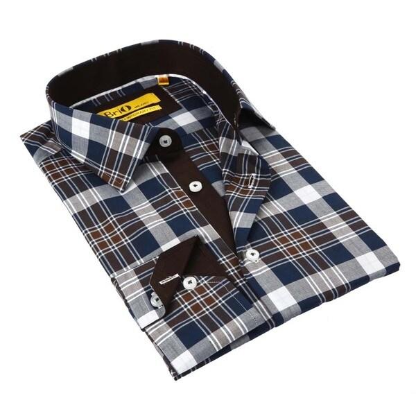 Brio Brown/ Blue Stitched Collar Men's Shirt