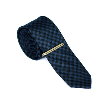 Skinny Tie Madness Mens 100-percent Cotton Red Plaid Skinny Tie