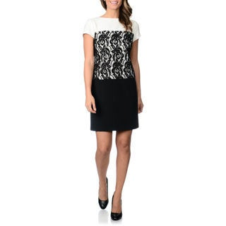 Studio I Women's Color block and Lace Dress
