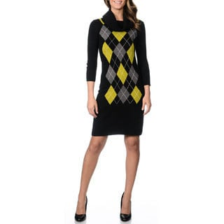 Studio I Women's Cowl Neck Argyle Sweater Dress