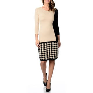 Studio I Women's Color Block Houndstooth Sweater Dress