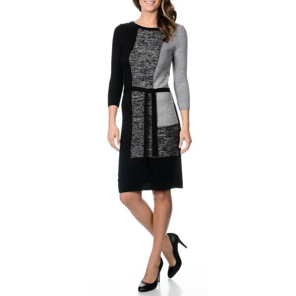 Studio I Women's Belted Color Block Sweater Dress