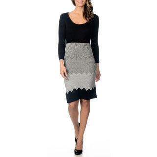 Studio I Women's Zig Zag Sweater Dress