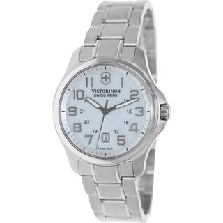 Victorinox Swiss Army Women's Officer's 241365 Silver Stainless-Steel Swiss Quartz Watch with Silver Dial