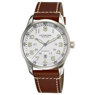 Victorinox Swiss Army Men's AirBoss Mechanical 241505 Brown Calf Skin Swiss Automatic Watch with Silver Dial