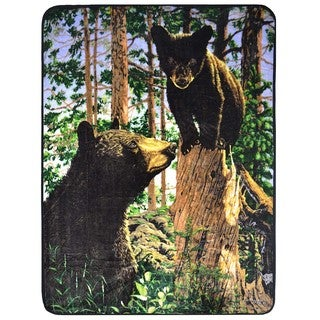 Plush Velour Bears Oversized Animal Throw