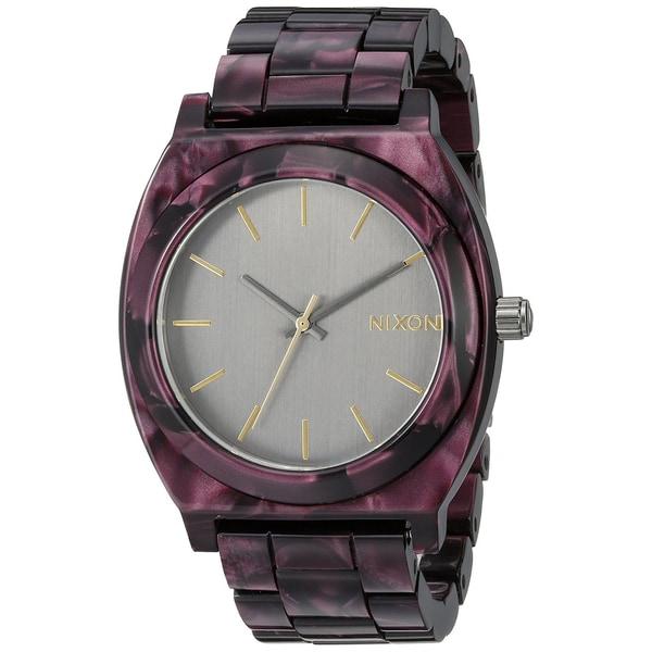 Nixon Women's Time Teller A3271345 Purple Ceramic Quartz Watch with Grey Dial