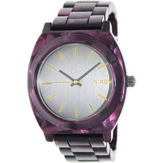 Nixon Women's Time Teller A3271345 Purple Ceramic Quartz Watch with Grey Dial