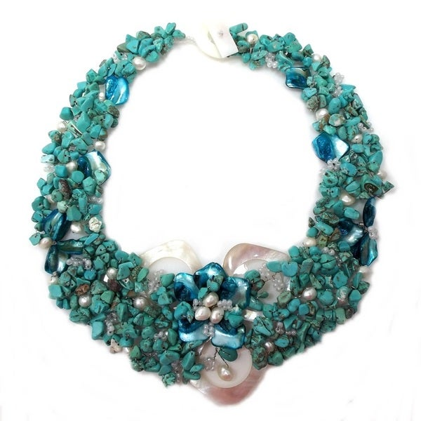 Hidden Flower Turquoise Stones Statement Necklace (Philippines)