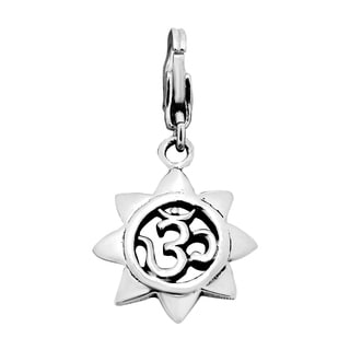 Blooming Lotus Om Center .925 Silver Pendant or Charm (Thailand)